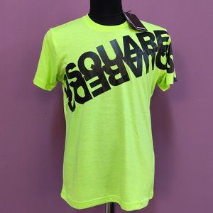 Dsquared2 Neon Green Mirrored Logo Black T-Shirt